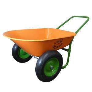 Marathon Industries Dual Wheel 5 Cubic Foot Poly Tray Wheelbarrow