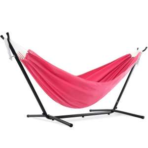 Vivere Space Saving Double Polyester Hammock with Steel Stand with carrying Bag (Hot Pink)