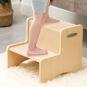 WOOD CITY Toddler 2 Step Wooden Stool