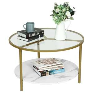 Moncot Modern Round MDF Table Base Tempered Glass Coffee Table for Living Room