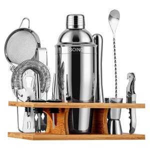 SOING 11 Pieces Silver Bartender Kit Stainless Steel with Wooden Stand