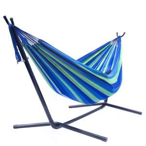Sorbus Double Two Person Hammock with Stand and Carrying Case (Green/ Blue)
