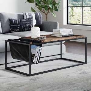 Nathan James 31401 Wood Tray Top Metal Frame Felix Modern Coffee Table, Nutmeg/Black