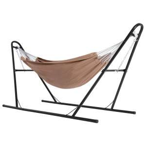 SONGMICS 82.7 x 59.1 Inches Hammock with Stand for Outdoor, Garden, Brown