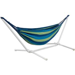 Amazon Basics Powder-Coated Steel Stand Polycotton Double Hammock- Green and Blue Stripe