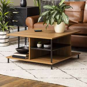 Walker Edison Wood and Metal Table Living Square Coffee Table, English Oak Brown