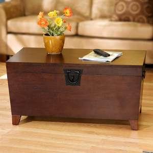 SEI Furniture Coffee Table Pyramid Storage Trunk, Espresso Table