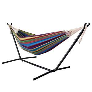 DRAGONHOO Portable Double Hammock with Stand for Indoor Outdoor, Carrying Case Included
