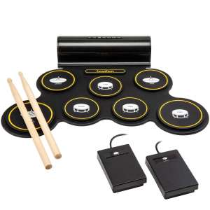Ivation Portable Drum Pad with an In-built Rechargeable Battery