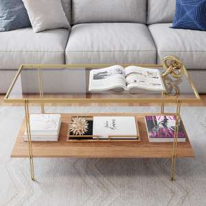 Nathan James Asher Rustic Oak Storage Shelf and Glass Top Rectangle Coffee Table, Gold