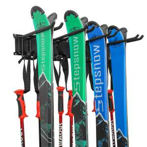 RaxGo Skis and Skiing Wall Rack for Garage and Home storage with Rubber-Coated Hooks