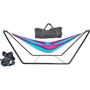 cutequeen 210T Nylon Hammock with Steel Stand and Tree Straps (Sky Blue/Purple)