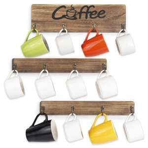 Olakee Coffee Mug Holder with Coffee Sign (Carbonized Black)