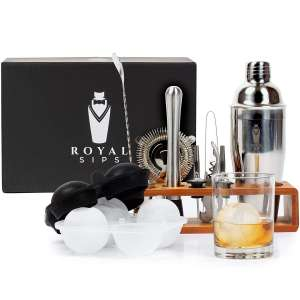 Royal Sips Premium Cocktail Shaker Set and Bamboo Stand
