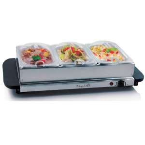 MegaChef Food Warmer With 3 Removable Sectional Trays