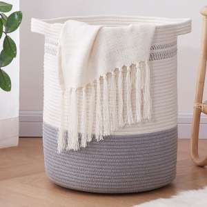 OIAHOMY Cotton Rope Storage Basket with Handles